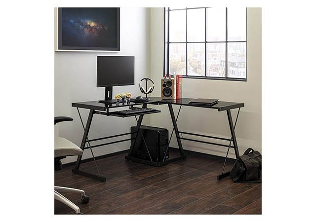 Walker Edison Modern L Shaped Gaming Desk with Computer Keyboard Tray