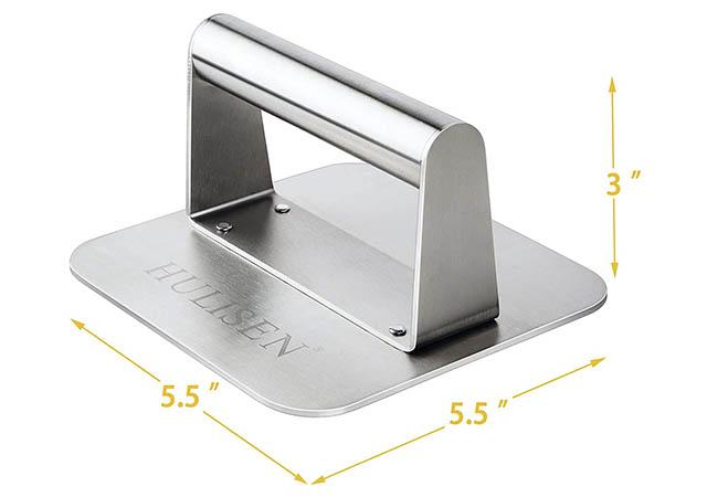 HULISEN Stainless Steel Professional Square Burger Grill Press1
