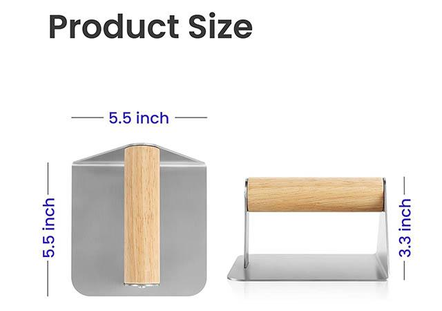 Heavy Duty Stainless Steel Grill Press Steak Weight with Wood Handle1