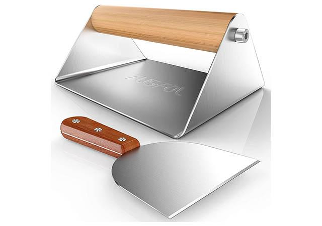 RUSFOL Large Stainless Steel Grill Smasher with a Stainless Steel Griddle Spatula
