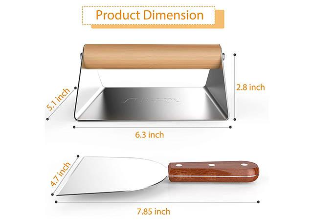 RUSFOL Large Stainless Steel Grill Smasher with a Stainless Steel Griddle Spatula1