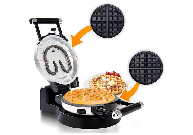 Secura Automatic 360 Rotating Non-Stick Belgian Waffle Maker with Removable Plates