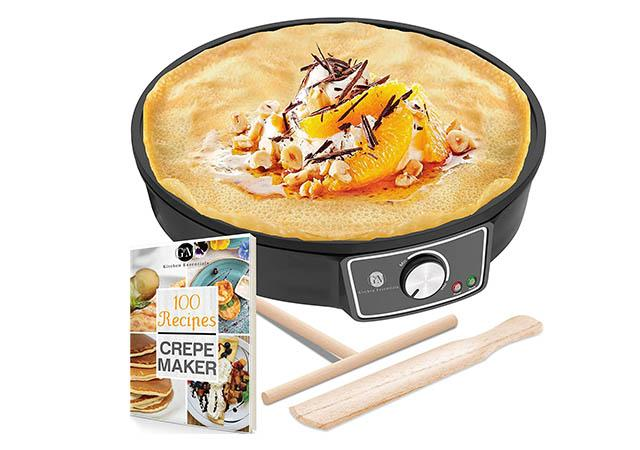 Best Crepe Maker Machine, Pancake Griddle Nonstick Electric Griddle with Wooden Spatula