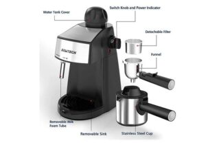 Best 3.5 Bar 4 Cup Espresso Machine with Steam Milk Frother and Stainless steel Mug3